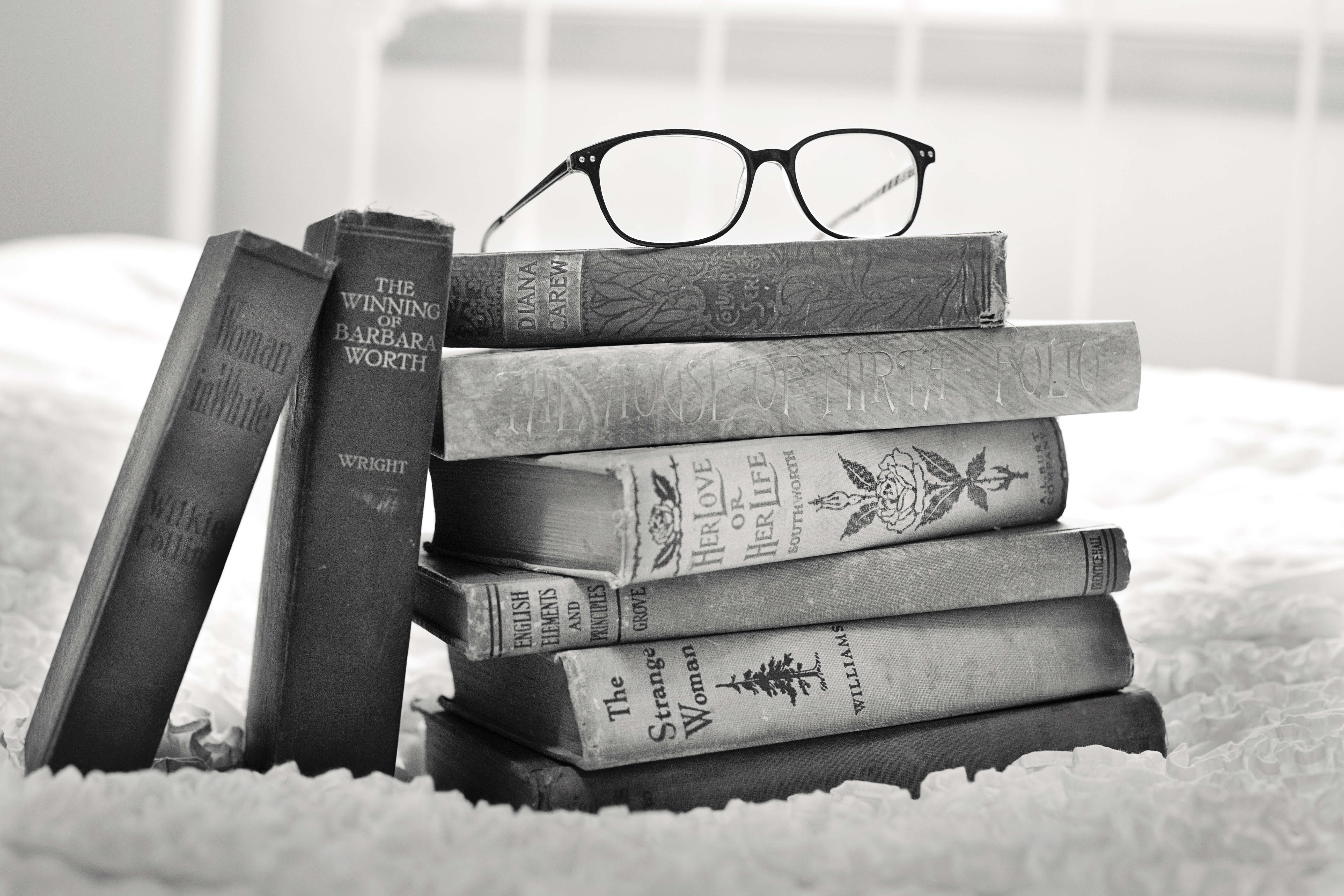 stack of books black and white